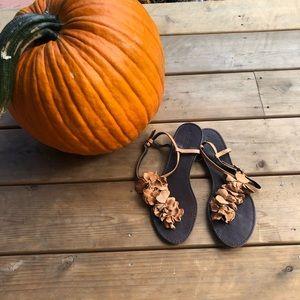 Sundance Leather Tan Flower Sandals Sz 40